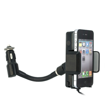Cell Phone/MP3 3.5mm FM Transmitter Car Charger - Black