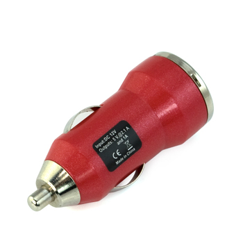 2-Port USB Car Charger Vehicle Power Adapter(2000mA) - Red