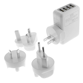EZOPower 4-Port USB International Travel Charger 2.1A with 4 Wall Plugs