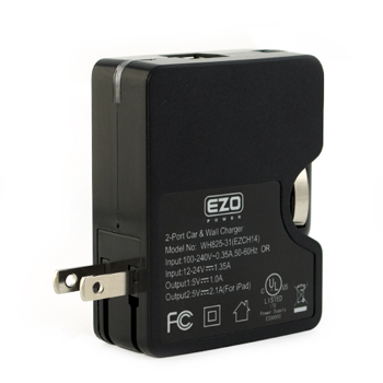 EZOPower 2-in-1 2-Port USB Car & Wall Travel Charger 2.1A