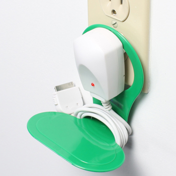 Cell Phone Wall Charger Holder for Cell Phone & MP3 - Green