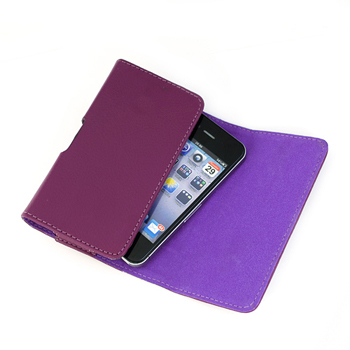 Leather Horizontal Pouch Case with Belt Clip - Purple (132 x 70 x 12 mm)