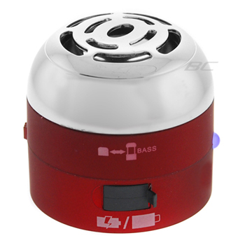 Go-Rock Portable Mini Speaker with Retractable Cables - Red (TRMS02MC-RD)