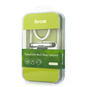iKross Mini Stylus with Neck Strap Lanyard for Apple iPhone iPod - Silver