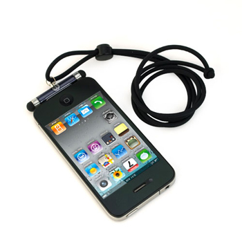 iKross Mini Stylus with Neck Strap Lanyard for Apple iPhone iPod - Black (IKSY12BK)
