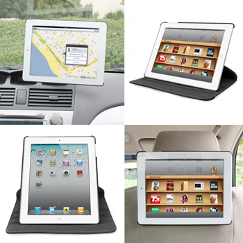 3-in-1 Car Headrest and Windshield Mount Holder with Leather Case for Apple iPad 2 & 3