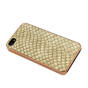 Evecase Leather Skin PC Shell Hard Back Case for Apple iPhone 5 - Golden