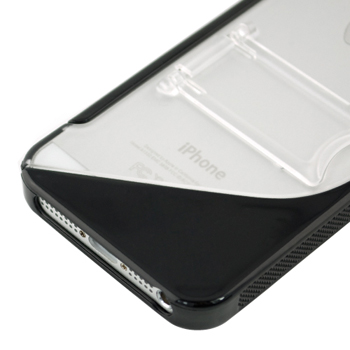 TPU+PC Case with Stand for Apple iPhone 5 - Black / Clear