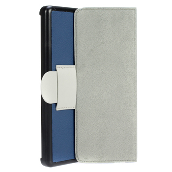 Microfiber PU Leather Case with Stand for Amazon Kindle Fire - Blue