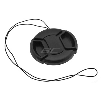 Camera Plastic Snap On Lens Cap with Strap - Black - 55mm