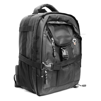 Large Digital SLR Camera and Lens Backpack Case - Black
