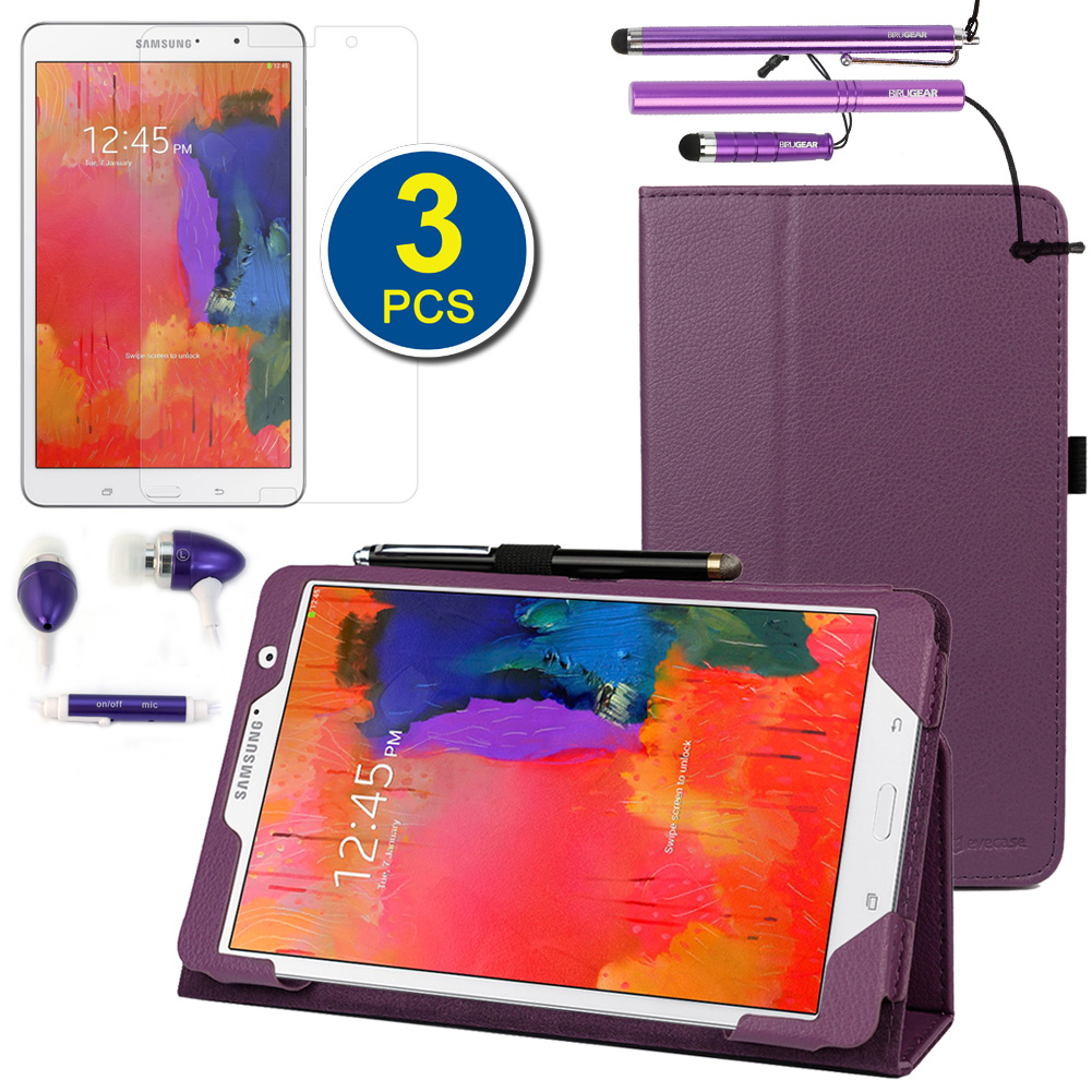 EveCase Bundle for Samsung Galaxy Tab Pro 8.4: Purple Case + 3 Screen Protectors + 3 Stylus + 3.5mm Headset at Sears.com