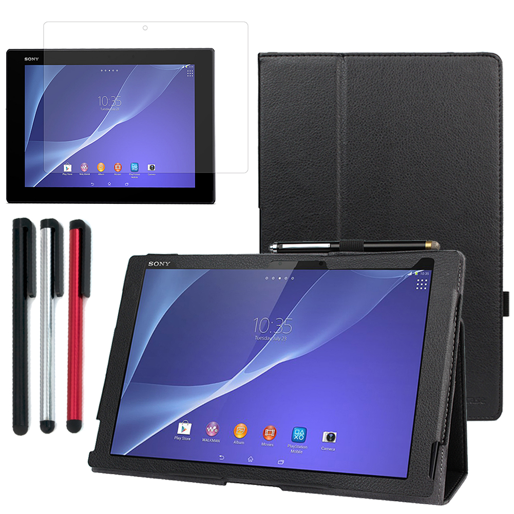 EveCase Bundle for Sony Xperia Z2 Tablet: Black Folio Stand Case + Screen Protector + 3 Stylus at Sears.com