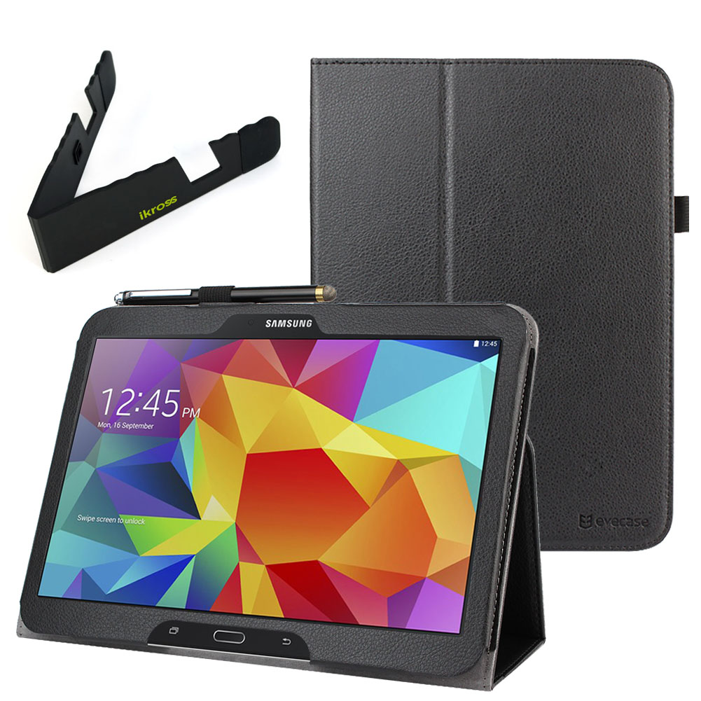EveCase Combo for Samsung Galaxy Tab 4 10.1:  Black PU Leather Slim Folio Stand Case + Folding Stand at Sears.com