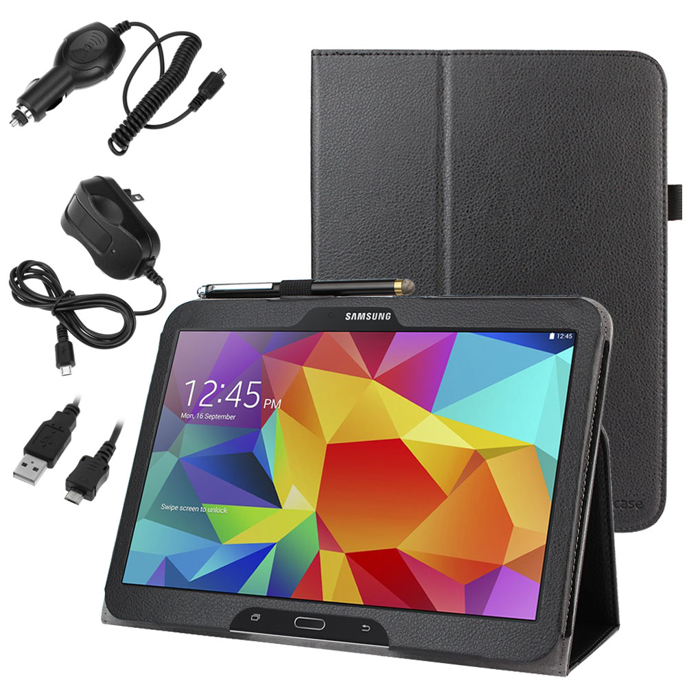 EveCase Combo for Samsung Galaxy Tab 4 10.1:  Black PU Leather Folio Stand Case + 3Pcs Sync & Charge Kit at Sears.com