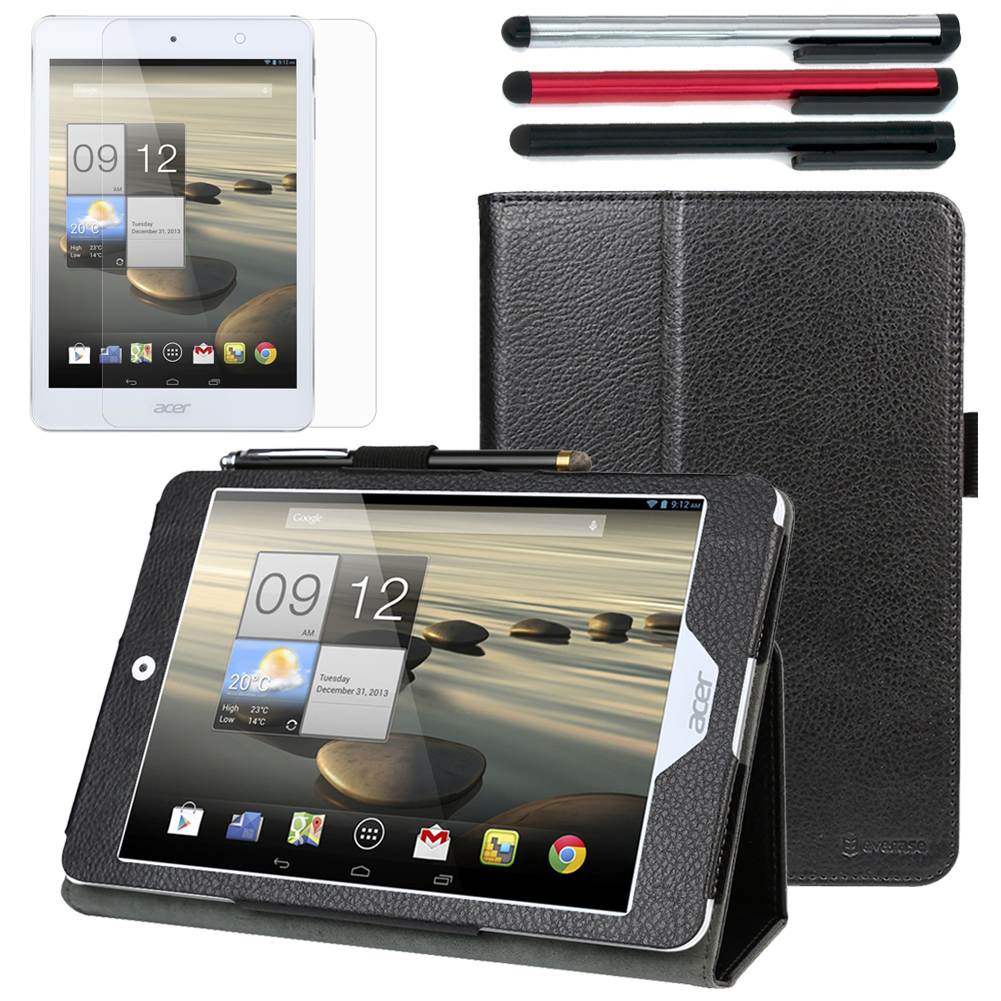 EveCase Bundle for Acer Iconia A1-830: Black Folio Stand Case + Screen Protector + 3 Stylus Pens at Sears.com