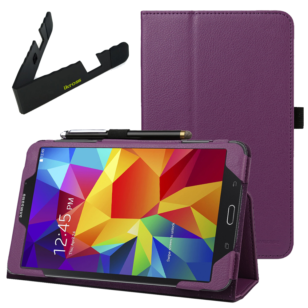 EveCase Combo for Samsung Galaxy Tab 4 8.0: Purple PU Leather Slim Folio Stand Case + Folding Stand at Sears.com