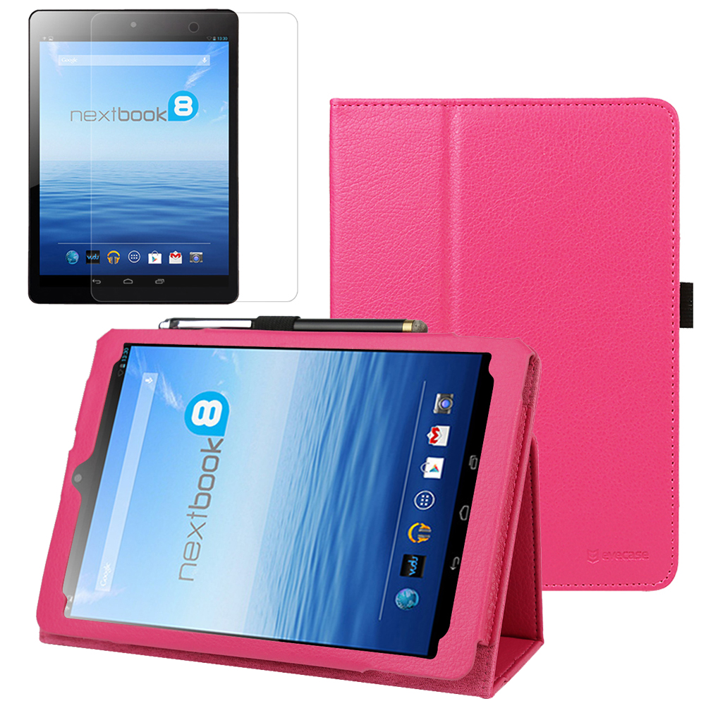EveCase Combo for E-Fun Nextbook 8 NX785QC8G: Hot Pink PU Leather Slim Folio Stand Case + Screen Protector at Sears.com