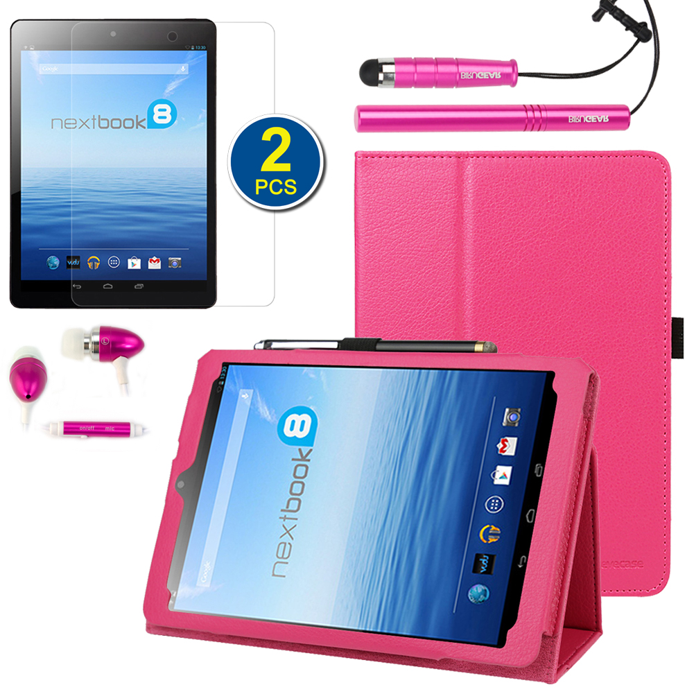 EveCase Combo for E-Fun Nextbook 8 NX785QC8G: Hot Pink Stand Case + 2 LCD Protectors + 2 Stylus + Headset at Sears.com