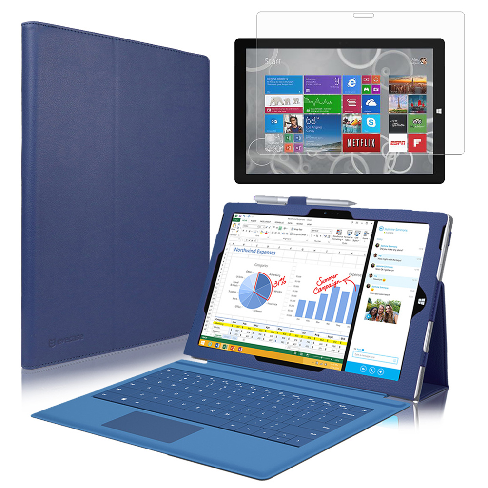 EveCase Combo for Microsoft Surface Pro 3: Dark Blue PU Leather Slim Folio Stand Case + Screen Protector at Sears.com