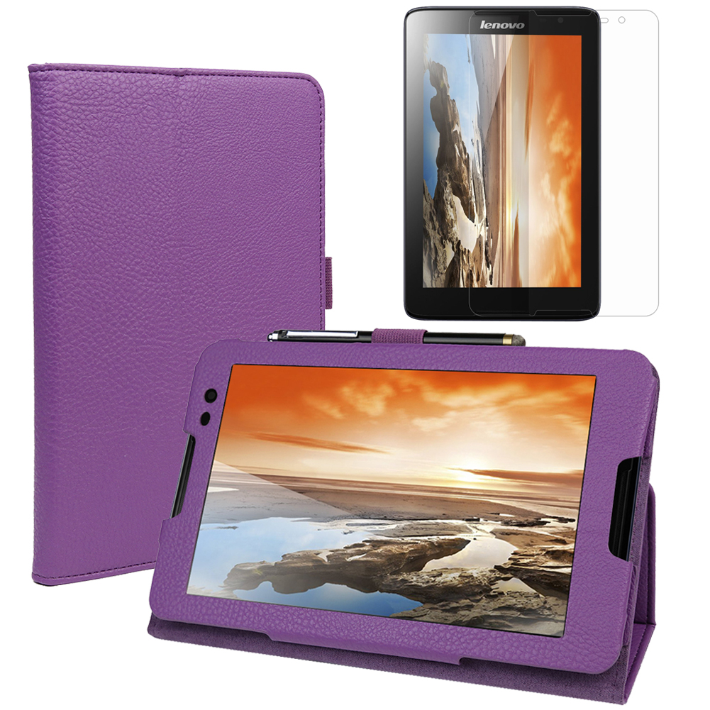EveCase Combo for Lenovo Tablet A8-50: Purple PU Leather Slim Folio Stand Case + Screen Protector Film at Sears.com
