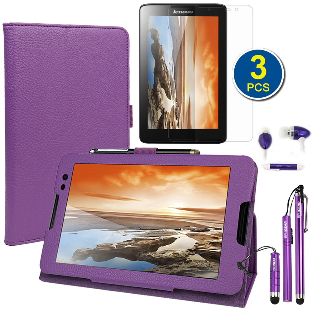 EveCase Bundle for Lenovo Tablet A8-50: Purple PU Leather Stand Case + 3x LCD Protector + 3 Stylus + Headset at Sears.com