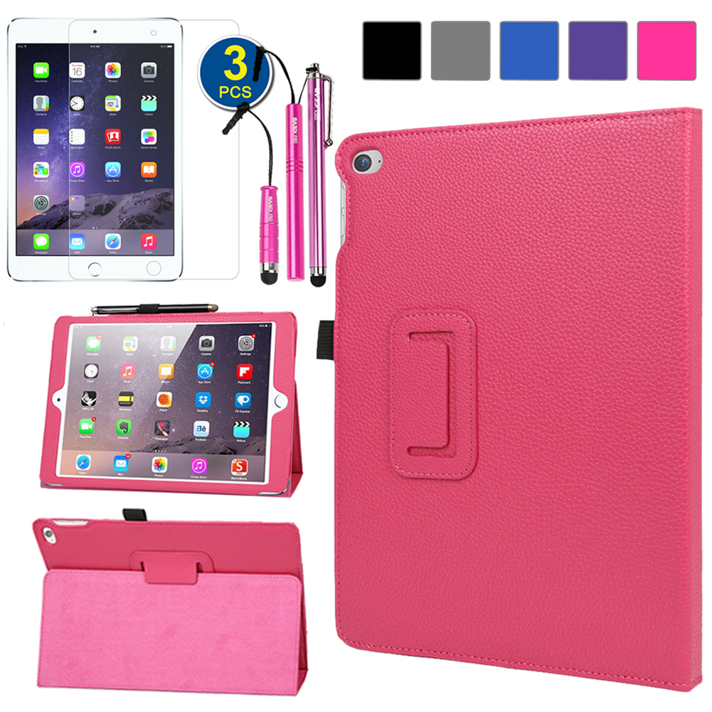 EveCase Bundle for Apple iPad Air 2: Hot Pink PU Leather Folio Stand Case + 3 LCD Protectors + 3 Stylus Pen at Sears.com